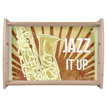 Vintage Sepia Musical Saxophone Serving Tray