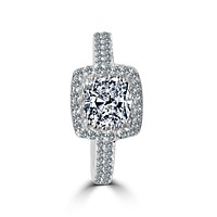 1 CT.(6x6mm) Intensely Radiant Square Cushion Center Diamond Veneer Cubic Zirconia with Halo Pave Set in Sterling Silver Modern Style Ring. 635R0251