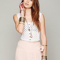 Womens Eyelet Crop Tank - White, L