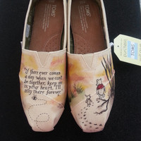 Vintage Winnie the Pooh and Piglet Custom Hand Painted Wedding Shoes