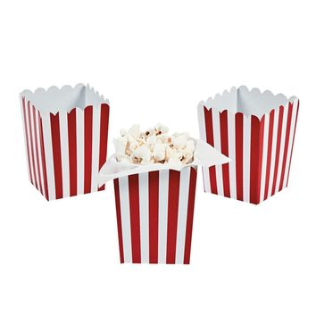 Red striped popcorn boxes