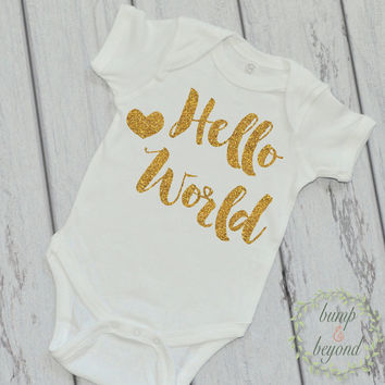Newborn Girl Clothes Newborn Outfit Hello World Gold Glitter Shirt Baby Shower Gift Coming Home Outfit Baby Girl Clothes 081