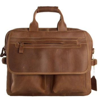 BLUESEBE MEN HANDMADE CALFSKIN LEATHER VINTAGE SATCHEL/MESSENGER BAG 8951