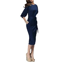2017 Women Spring Autumn Work Dress European Half Sleeve Elegant Ladies Bodycon Pencil Slim Party Dresses Vestidos M-6XL