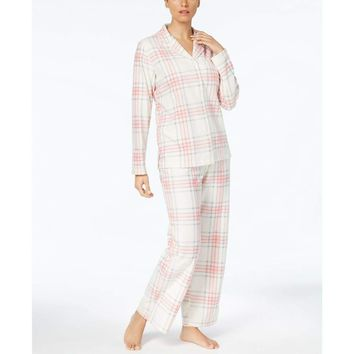 Charter Club Fleece Top and Pajama Pants Set 131137 Large Plaid Size Large