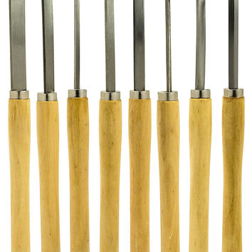 Bastex Professional Quality Wood Turning Chisel 8 pcs Set Included Lathes: 2 Skew 1 Spear Point 1 Parting 1 Round Nose & 3 Gouge Tools for wood working professionals or hobbyist. Starter Pack Kit