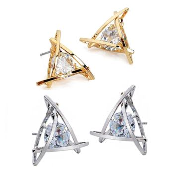 Captured Crystals Triangle Earrings