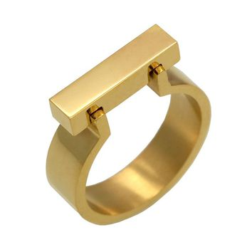 Classics Stainless Steel Jewelry Horseshoe Flat Shackle Brand Ring Punk Finger Love Ring Gold Color Square Shape Ring For Women