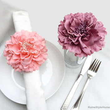4 Pieces Set. Coral And Dusty Pink Artificial Peonies 4inch Floral Napkin Rings Set.Coral Flower Napkin Holders. Bridal Shower Wedding Decor