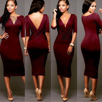 Sexy Wrap Deep V Neck 1/2 Sleeves Bodycon Multi Dress