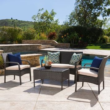 Christopher Knight Home Cordoba Outdoor 4-piece Wicker Chat Set with Cushions   Overstock.com Shopping - The Best Deals on Sofas, Chairs & Sectionals