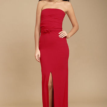 Own the Night Red Strapless Maxi Dress