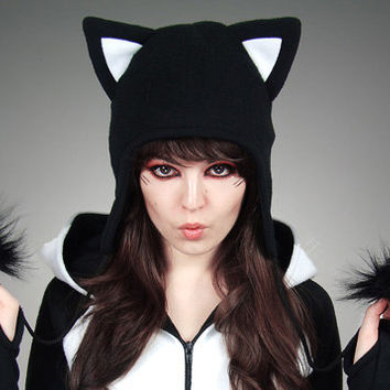 Cap Black Cat Animal Kitty White Fur Hat Ears Beanie earmuffs pompons