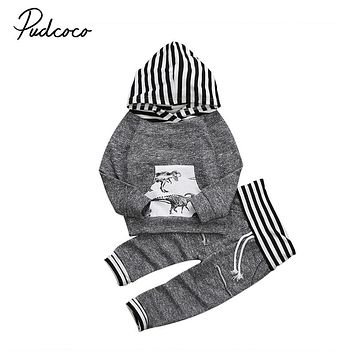 Baby Boy Clothing Set 2PCS Baby Girls Clothes Newborn Striped Hooded Long Sleeve Tops Pants Winter Fall  Outfit Clothing Set