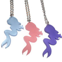 Mermaid Necklace, Frosted Purple Silhouette Cute Necklace