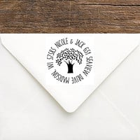 Tree Address Stamp - Wedding Tree Return Address Stamp - Large Personalized Couples Stamp - Rustic Wedding Stamp - Gift for Bride & Groom