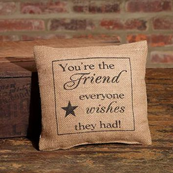 You're The Friend Everyone Wishes They Had - Country Rustic Burlap Accent Throw Pillow with Star - 8-in x 8-in