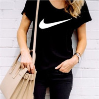 Women Men Nike fashion short sleeve print big hook T-shirt top Black