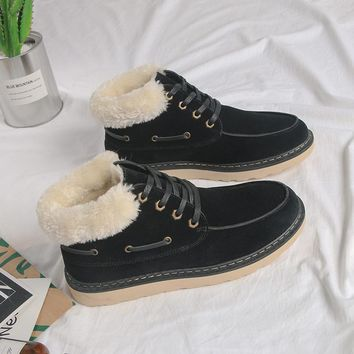 Hot Deal On Sale Men Casual Cotton Shoes Winter Anti-skid Flat Boots [118135685145]