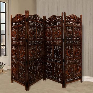 Hand Carved Sun And Moon Design Foldable 4-Panel Wooden Room Divider, Brown- Benzara