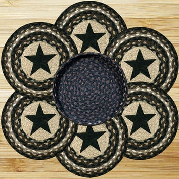 Black Star Round Trivets in a Basket (Set of 7)