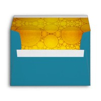 Teal, custom pre-addressed yellow bubble art lined envelope