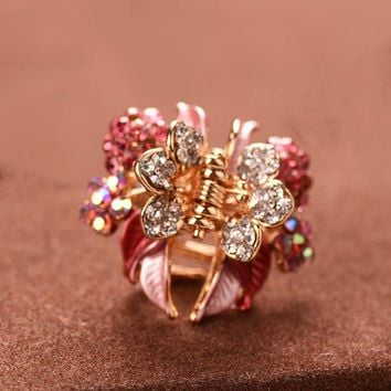 High Quality Luxury Painting Hairpins Trendy Hair Clip Shiny Rhinestone Crab Hair Claws For Women Girl