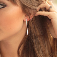 Straight to Silver Earrings