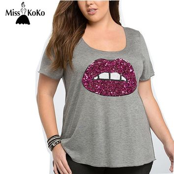 Plus Size Solid Gray Red Lips Sequin T-shirt Crew Neck Slim T-shirt