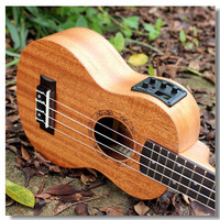 Soprano Acoustic Electric Ukulele 21 Inch Guitar 4 Strings Ukelele Guitarra Handcraft Wood White Guitarist Mahogany Plug-in Uke