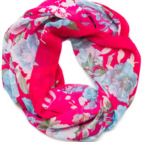 Hello Floral Infinity Scarf in Fuchsia