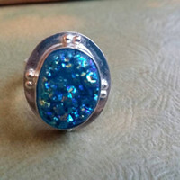 Blue Druzy Gemstone Natural Ring Size 8 Ladies 925 Silver Plated Boho Chic Retro Statement Cocktail Sparkles Crystal Quartz Oval Bezel