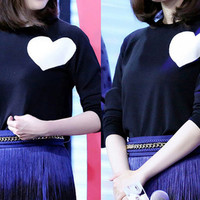 Black Heart Pattern Long Sleeves Knitted Sweater