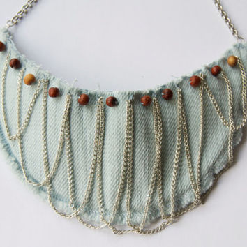 Upcycled shoulder pad necklace - Chain and wood bead necklace - Recycled necklace - Eco friendly and green - Blue denim, bib necklace
