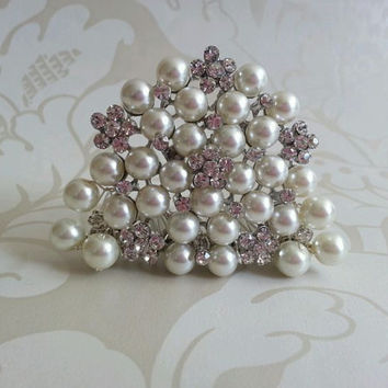 Audrey Hepburn style replica Tiara Diamante Crystal  Ivory Pearl  hair comb Breakfast at Tiffany's