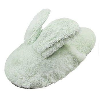 Cute Bunny Rabbit Warmer Slippers Indoor Mens Womens Winter Cotton Slippers Soft Memory Foam Clog Shoes Couples Slipon Antiskid Booties House Comfort Scuff Mules Floor Footwear Flat Closed Toe