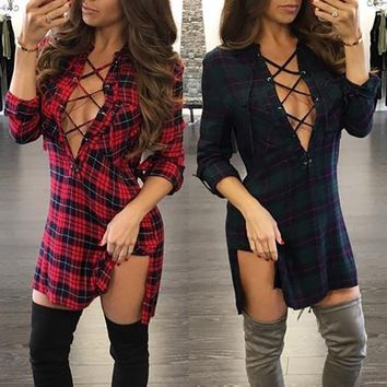 AOUM New Women Spring and Summer Side Slit W/ Hollow V Neck Plaid Dress/Shirt