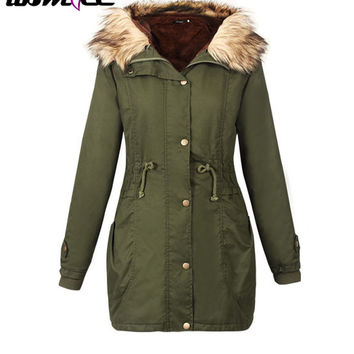 Women's Army Green Long Autumn Winter Casual Jackets Coats With Faux Fur Hooded Cargo Parkas Coat Warm Outwear Autumn Winter 1