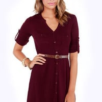 Sweater Than Ever Belted Burgundy Sweater Dress