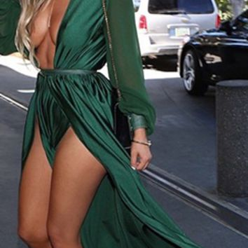 Loving the Limelight Emerald Green Long Loose Sleeves Plunge V Neck Tie Waist Slit Front Maxi Dress