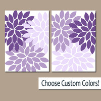 Purple WALL Art Canvas or Prints Lavender Bathroom Artwork Bedroom Pictures Lilac Nursery Decor Floral Dahlia Flower Burst Petal Set of 2