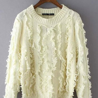 Cream Knitted Cropped Sweater
