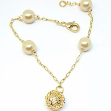 1-0686-f5 18kt Brazilian Gold Layered Pearl Bracelet with Caged CZ Ball.