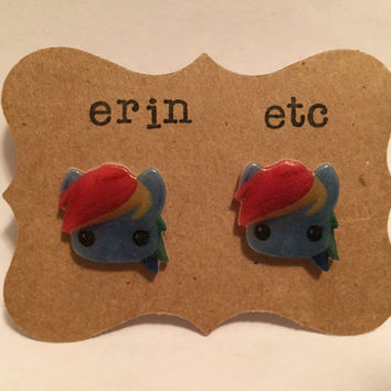 Handmade Plastic Fandom Earrings - My Little Pony - Rainbow Dash