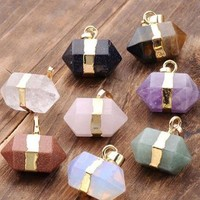 Hexagon Crystal Quartz Chakra Pendants