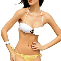 Pandolah Sexy Women Bikini Beachwear Ladies' Sailor Fashion Swimwear Swimsuit (M, Sailor)