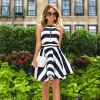 Summer Dress Women Vintage Pinup Striped Dress Off Shoulder Patchwork