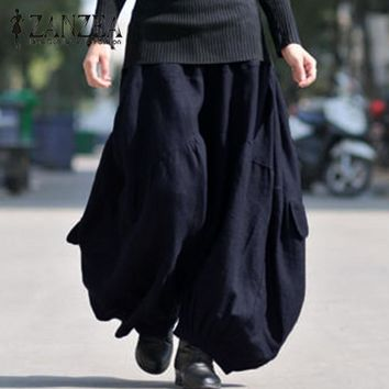 Women Vintage Elastic Waist Solid Long Wide Leg
