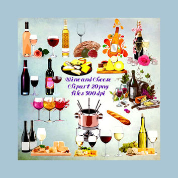 Wine, Cheese and Bread Clipart, Digital Download,Digital Scrapbooking, Clipart, Party Favors, Wine Clipart, Food Clipart, Alcohol Clipart