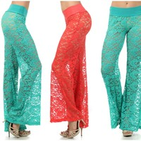 """AQUARIUS"" OR ""VIRGO"" LACE PALAZZO PANTS SEXY WIDE FLARE LEG CORAL OR TURQUOISE"